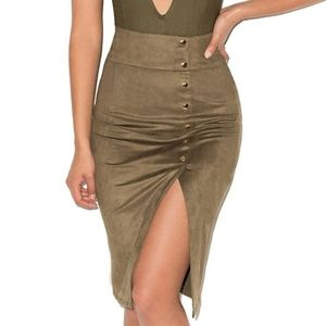 NWT Mistress Rocks All Shook Up Khaki Green Skirt